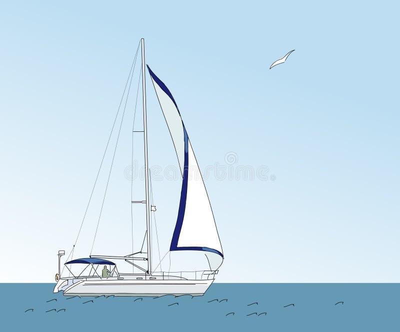 Iate no mar ilustração stock