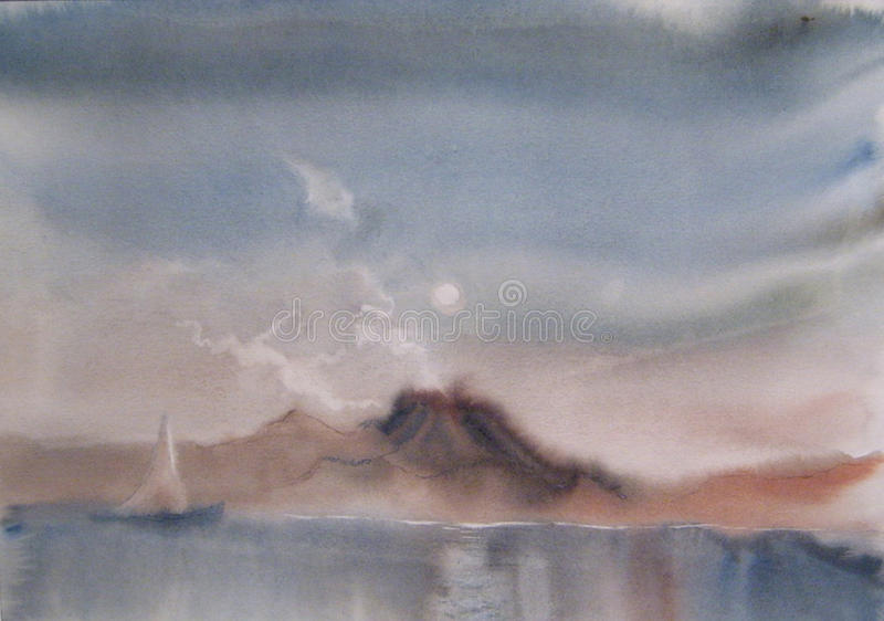 Iate no mar - pintura da aquarela ilustração do vetor