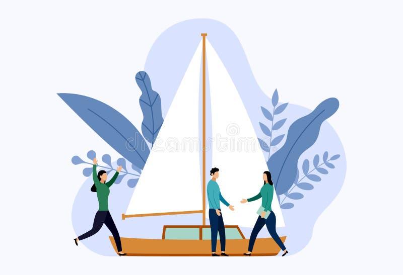Iate ou veleiros com conceitos humanos ilustração royalty free
