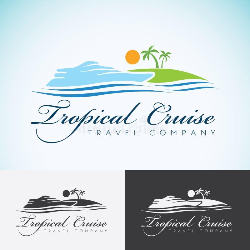 Iate, palmeiras e sol, molde do projeto do logotipo da empresa do curso cruzeiro do mar, ilha tropical ou ícone do logotype das f ilustração do vetor