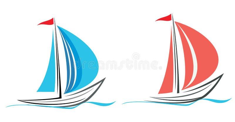 Iate, sailboat. ilustração stock