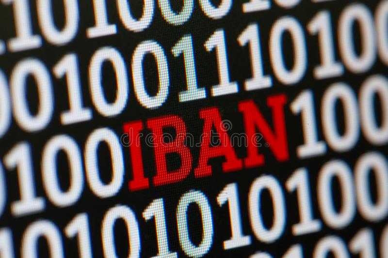 IBAN. International Bank Account Number. Binary code of zeros and ones in the background.  royalty free stock photography