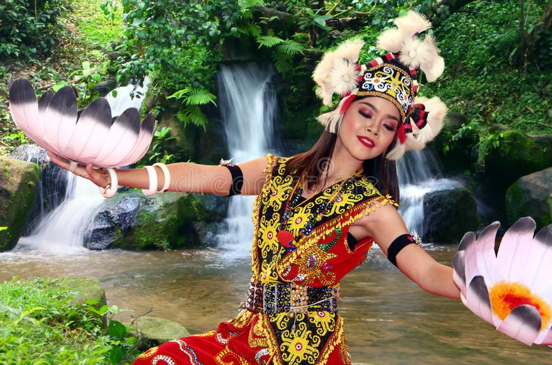 Iban traditional dance performer with full tribe costume dancing by the waterfall in royalty free stock photos