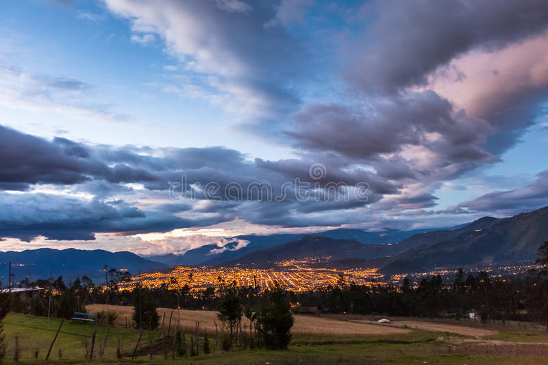 Ibarra, at dusk. Sky and clouds over the city of Ibarra, Ecuador, at dusk royalty free stock photos