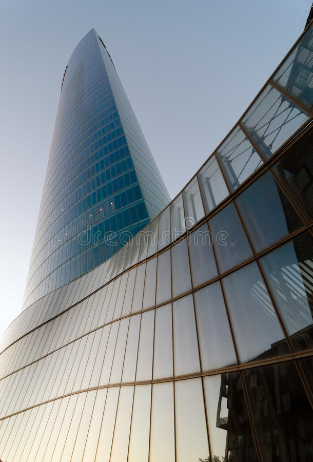 Download Iberdrola Tower at Sunset editorial stock image. Image of facade - 32172069