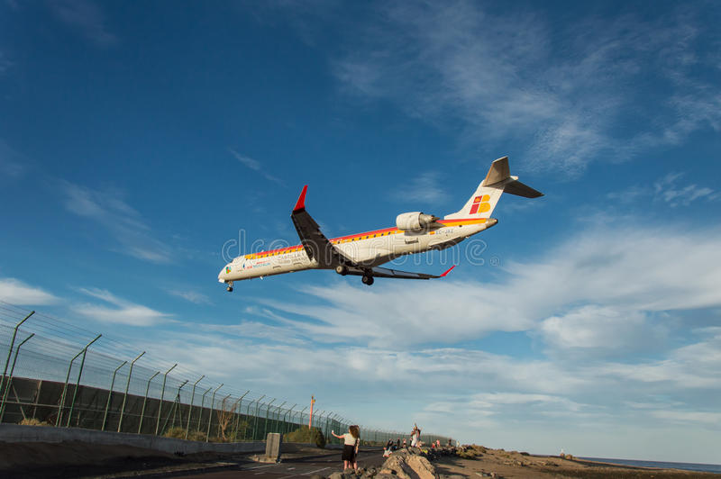 Iberia Aircraf landning fotografering för bildbyråer