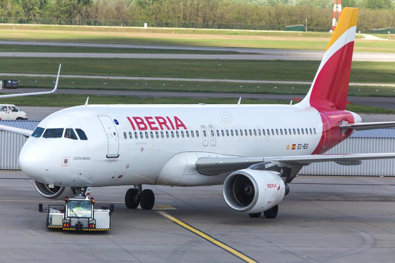 Iberia airways airplane at budapest airport hungary. Budapest, budapest/hungary - 24 04 18: iberia airways airplane at budapest airport hungary stock images