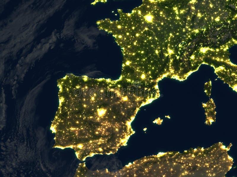 Iberia en la noche en la tierra del planeta ilustración del vector
