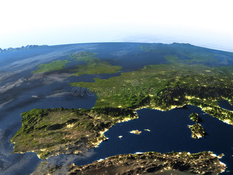 Iberia en la tierra del planeta ilustración del vector