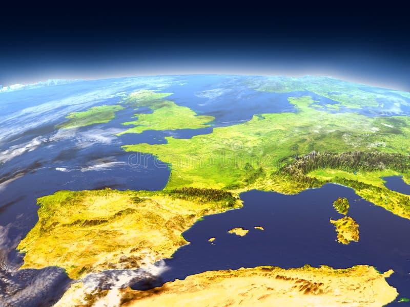 Iberia från utrymme vektor illustrationer