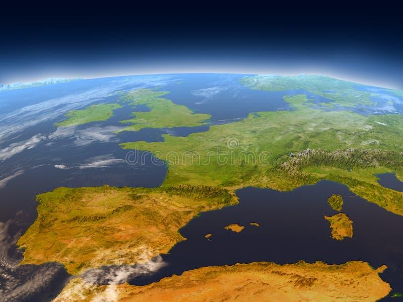 Iberia från utrymme stock illustrationer