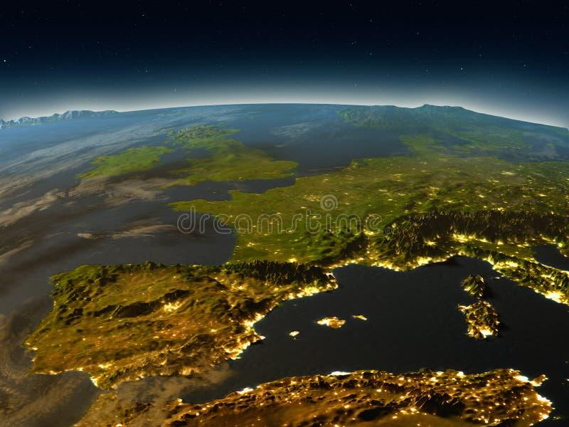 Iberia från utrymme i aftonen stock illustrationer