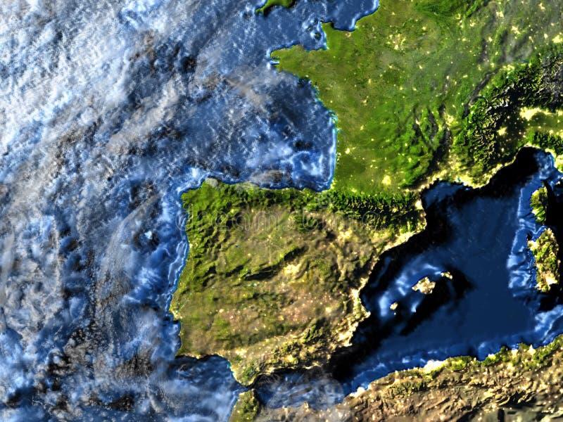 Iberia på jord på natten - synligt havgolv royaltyfri illustrationer