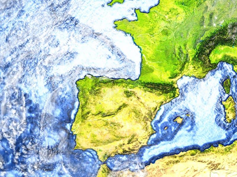 Iberia på jord - synligt havgolv stock illustrationer