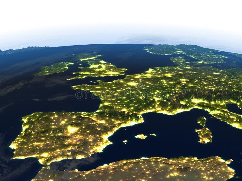 Iberia på natten på planetjord stock illustrationer
