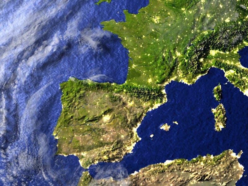 Iberia på natten på realistisk modell av jord stock illustrationer