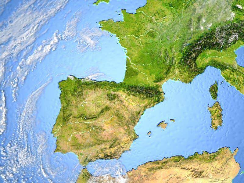 Iberia på planetjord vektor illustrationer