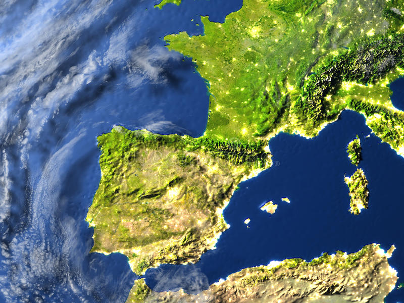 Iberia på planetjord royaltyfri illustrationer