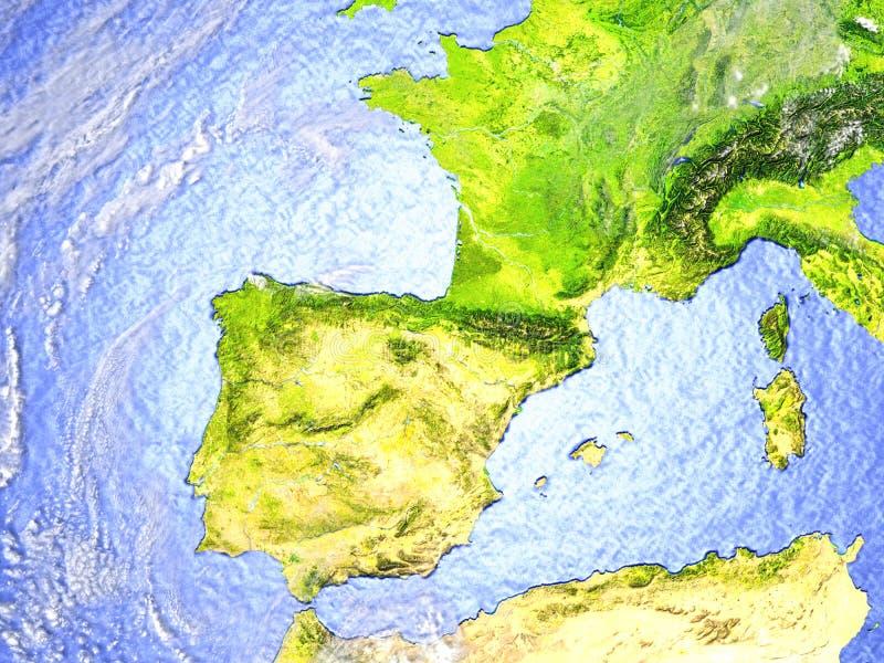 Iberia på realistisk modell av jord vektor illustrationer