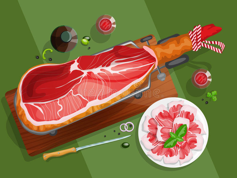 Iberian ham on a jamonera. Top view composition with iberian ham on a jamonera, sliced iberian ham and red wine royalty free illustration