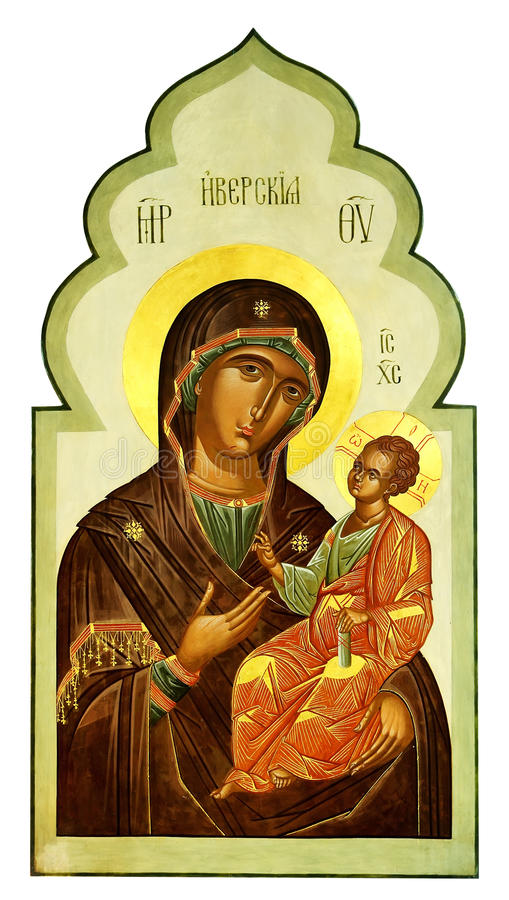 Iberian icon of the Mother of God and Jesus Christ royalty free stock photography