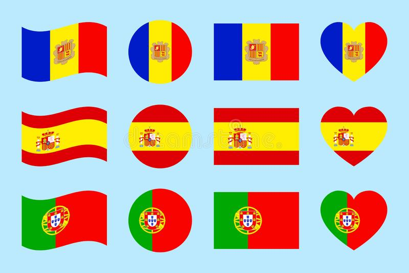 Iberian Peninsula states flags. vector illustration. Spain, Portugal,Andorra national symbols. Different geometric shapes. Flat st. Yle. Andorran, Spanish vector illustration