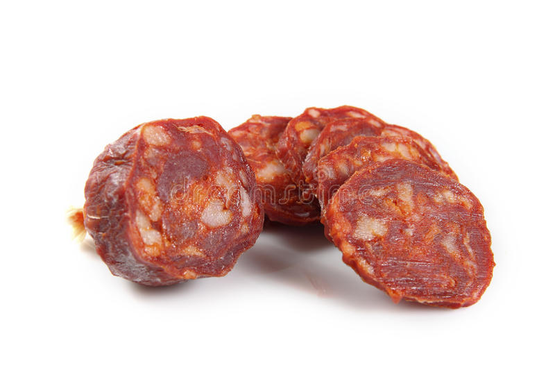 Iberische Chorizo geschnitten stockbild