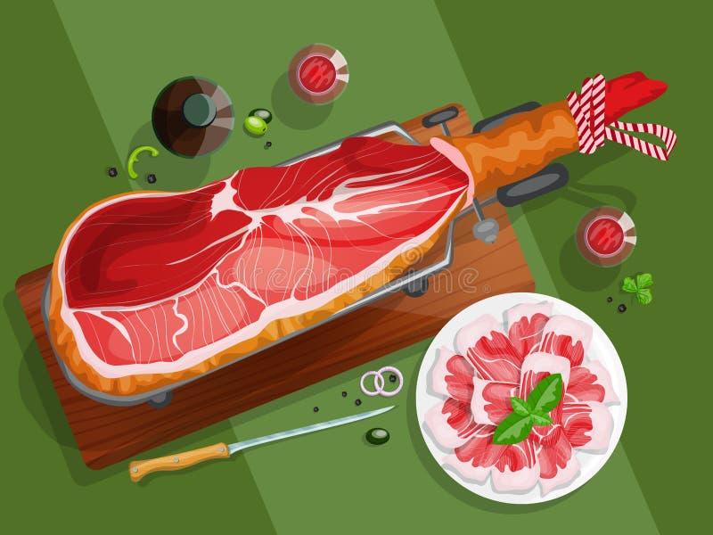 Iberische ham op een jamonera royalty-vrije illustratie