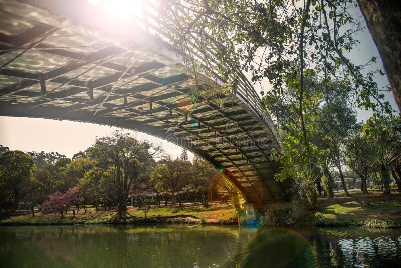 Ibirapuera ` s与轰鸣声角度的公园brigde 免版税库存照片