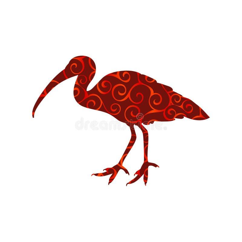 Ibisa ptaka spirali wzoru koloru sylwetki zwierzę ilustracja wektor