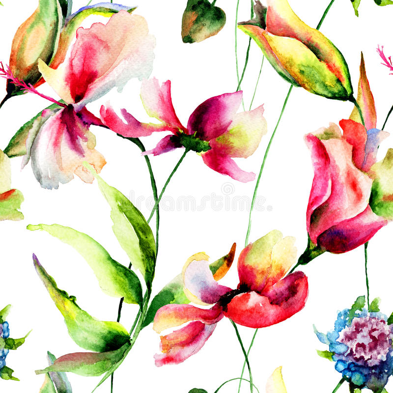 Ibisco con i fiori di Cosmea illustrazione di stock