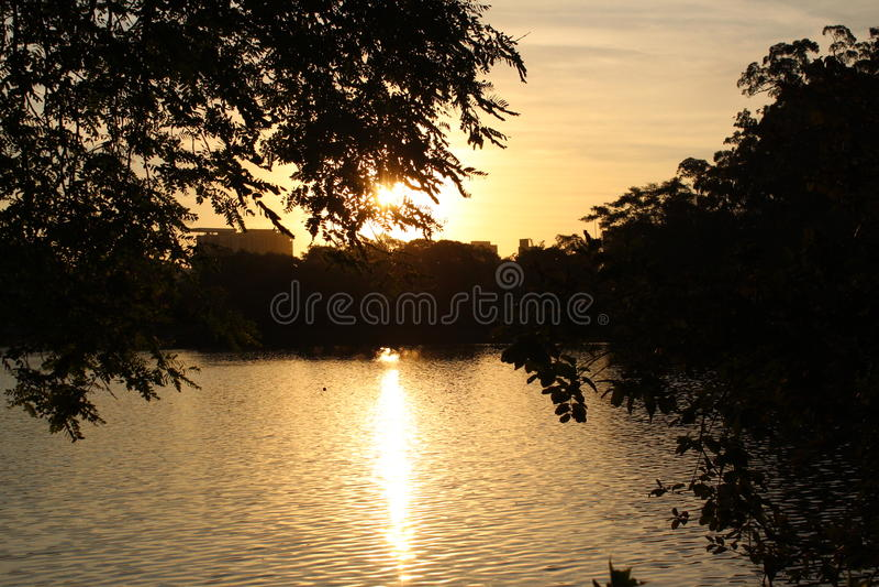 Ibitapuera-Sonnenuntergang lizenzfreies stockfoto