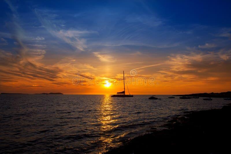 Ibiza圣安东尼奥Abad de Portmany日落 免版税库存图片
