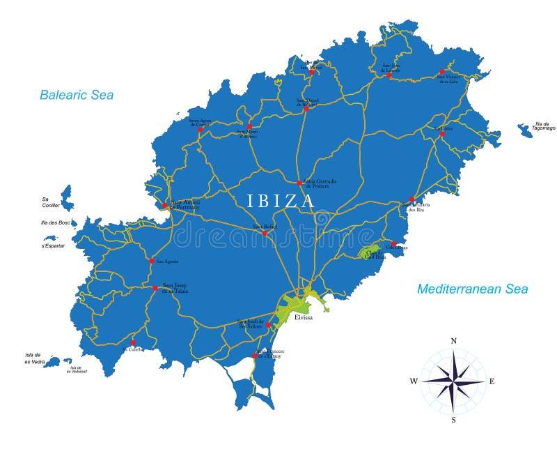 Ibiza översikt vektor illustrationer