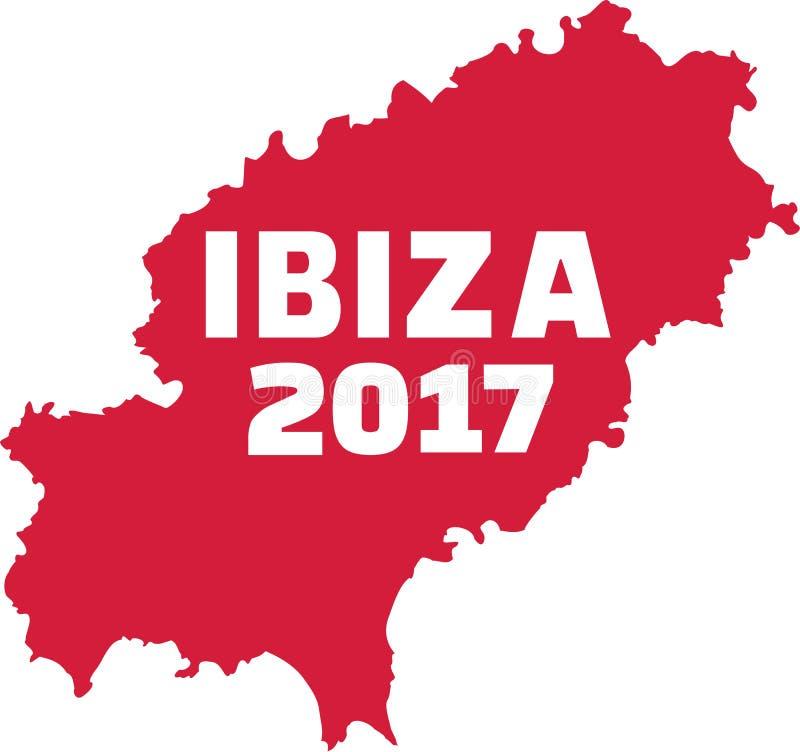 Ibiza översikt med Ibiza 2017 royaltyfri illustrationer