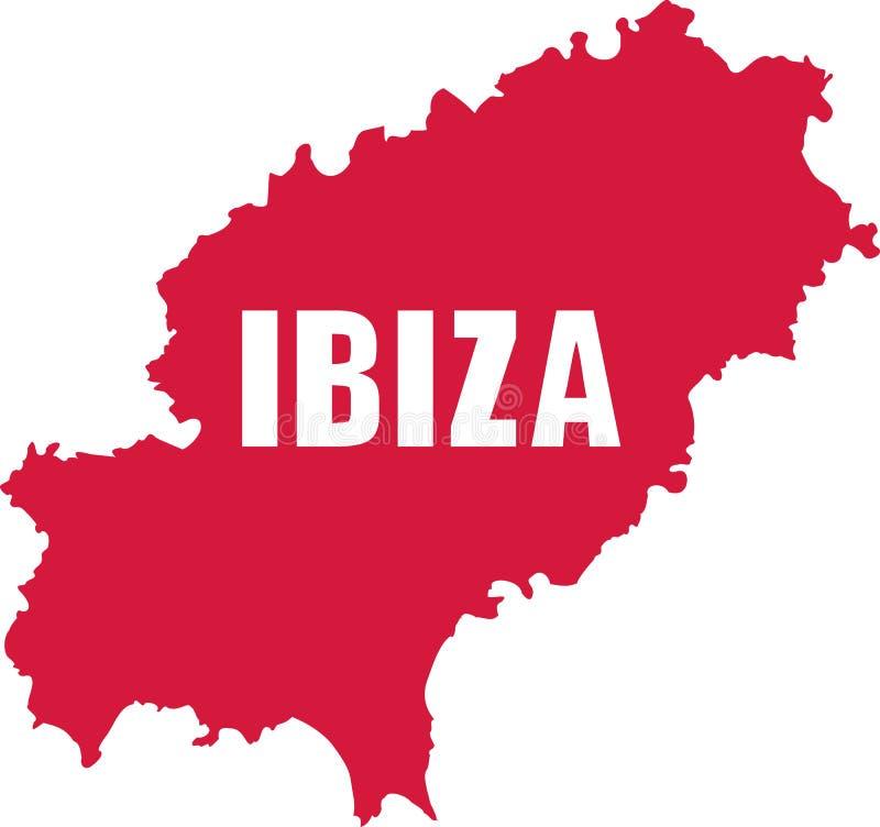 Ibiza översikt med namn royaltyfri illustrationer