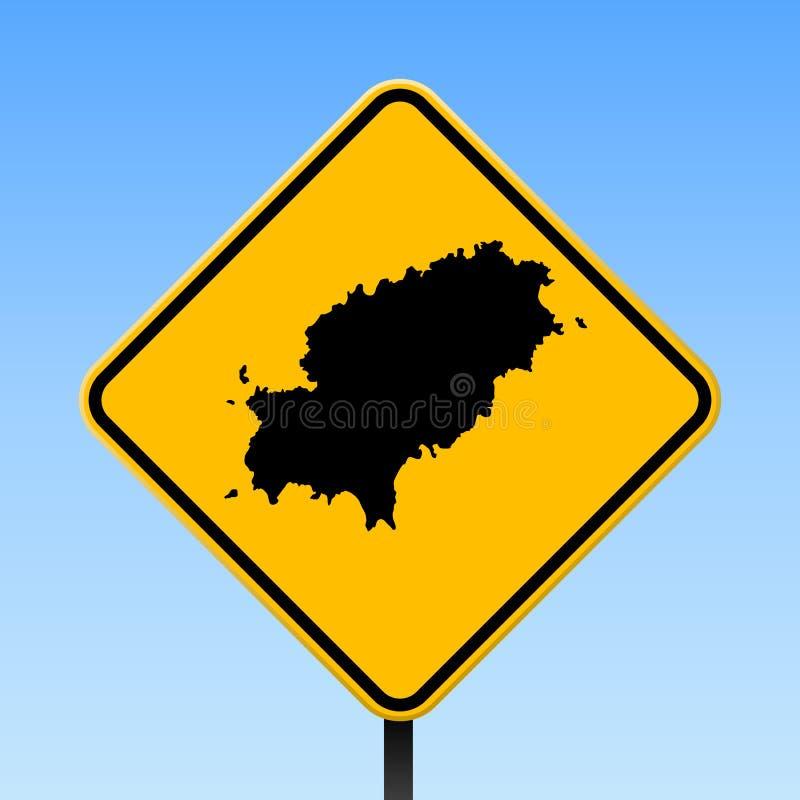 Ibiza översikt på vägmärke royaltyfri illustrationer