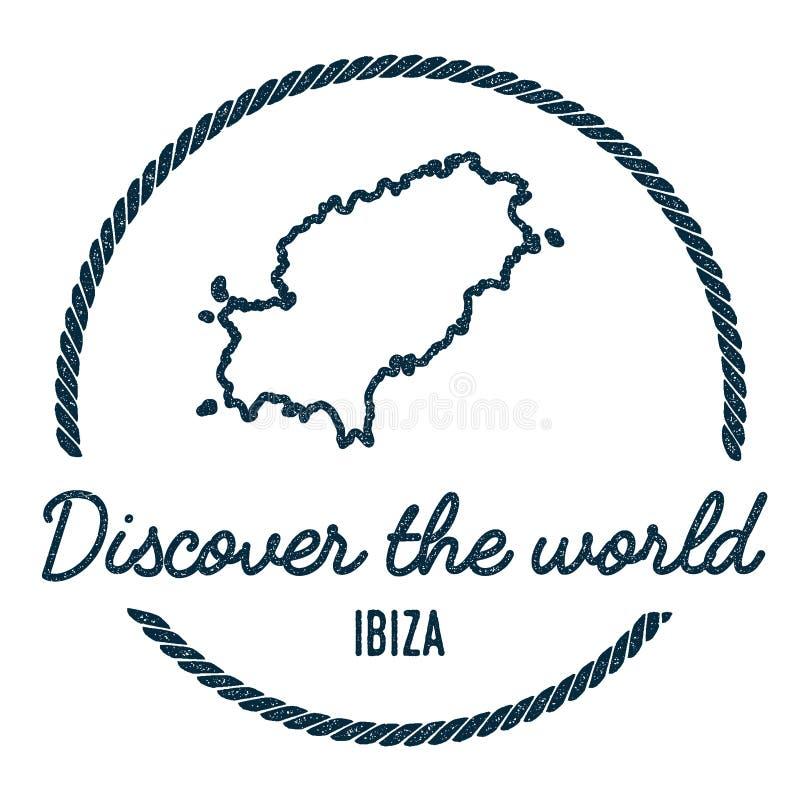 Ibiza översiktsöversikt Tappning upptäcker världen stock illustrationer