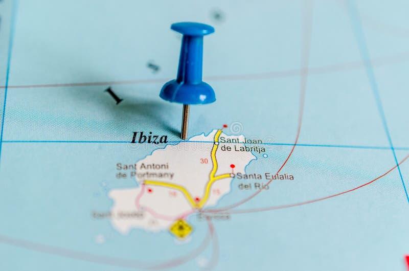 Ibiza на карте стоковое изображение rf