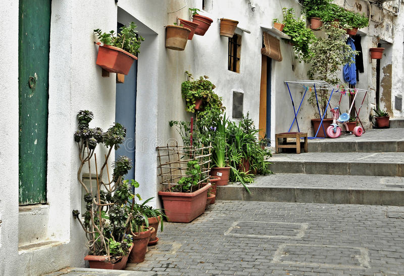 Ibiza, Balearic Islands, Spain. View of a street of old town of Ibiza, Balearic Islands, Spain royalty free stock images