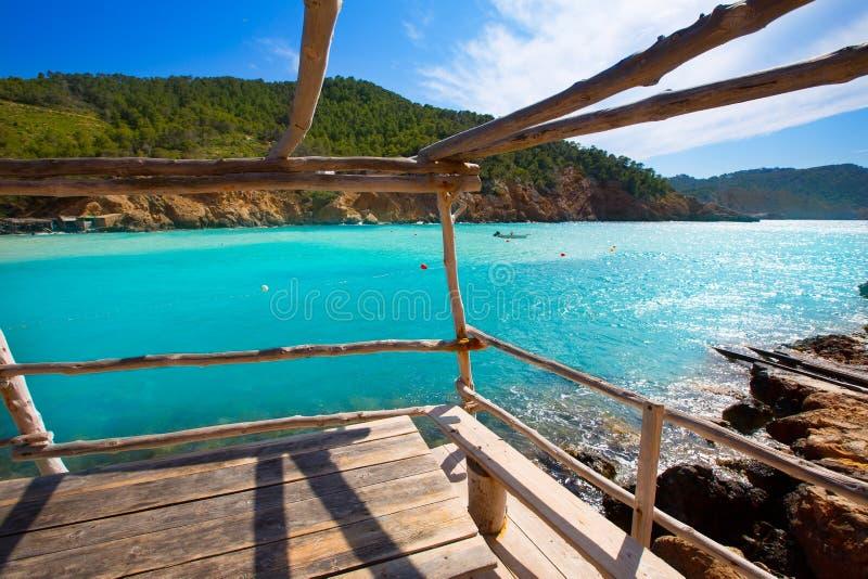 Ibiza Cala Benirras海滩在拜雷阿尔斯的圣霍安 免版税库存照片