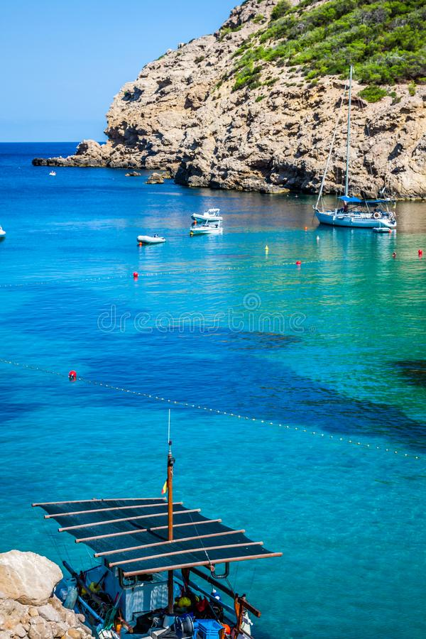 Ibiza Cala Benirras beach in san Joan at Balearic Islands Spain.  royalty free stock images