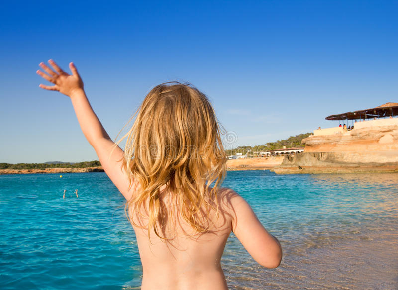 Download Ibiza Cala Conta Little Girl Greeting Hand Sign Stock Photo - Image of beach, happiness: 21994762