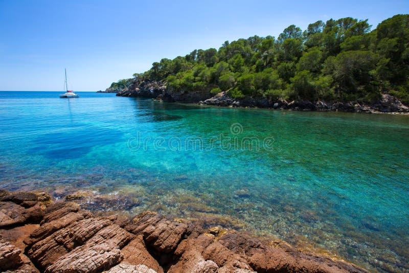 Ibiza Cala Mestella Mastella in Santa Eulalia stock fotografie