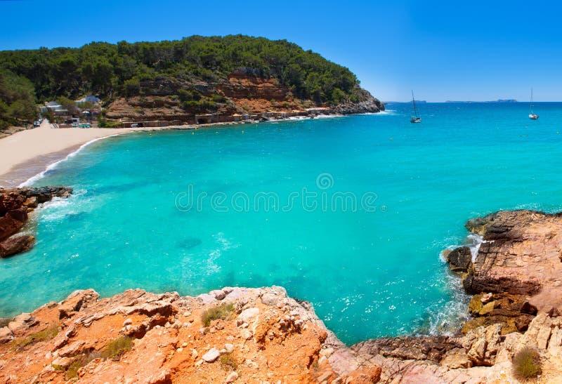 Ibiza cala Salada i san Antonio Abad på Balearic royaltyfri bild