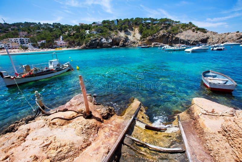 Ibiza Cala Vedella Vadella在Balearics的圣何塞 库存图片