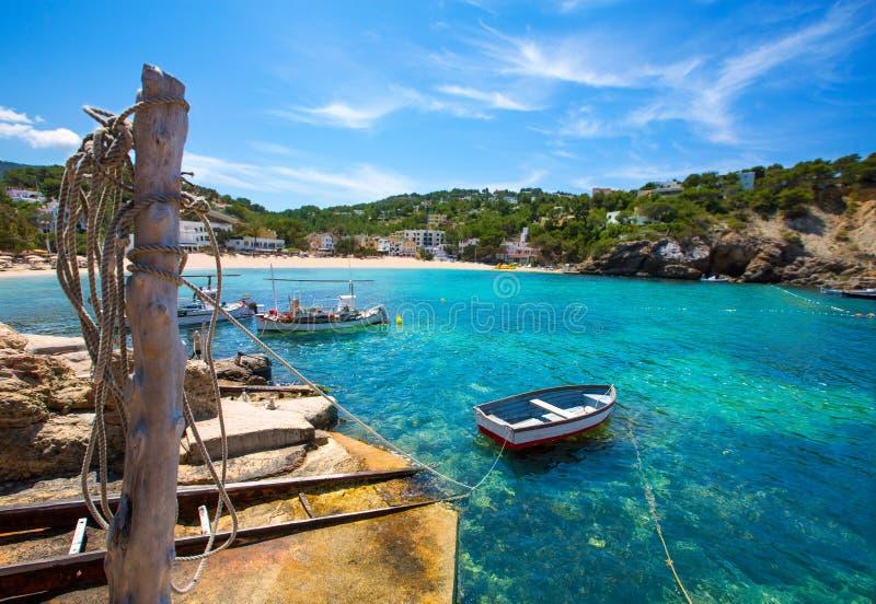 Ibiza Cala Vedella Vadella在Balearics的圣何塞 免版税图库摄影