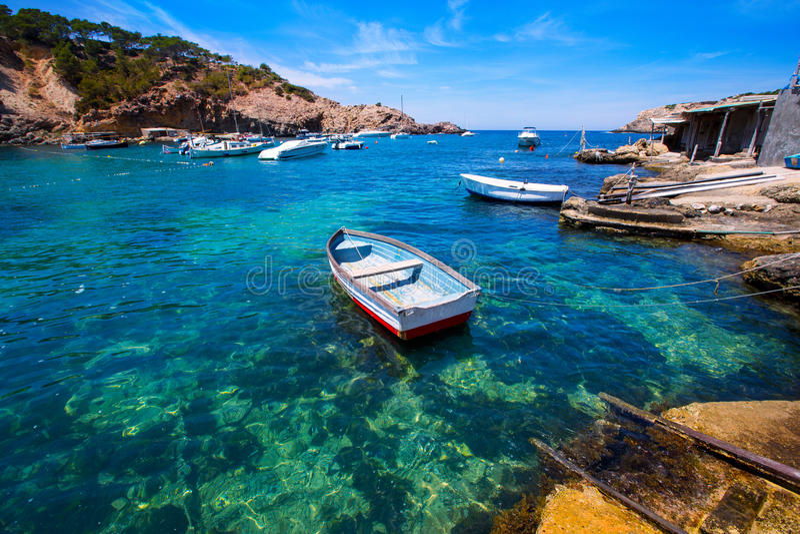 Ibiza Cala Vedella Vadella在Balearics的Sant何塞普 免版税库存照片