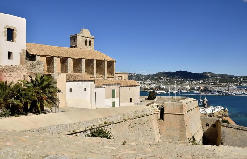Landscape. Ibiza Cathedral, rear view from the ramparts stock photo