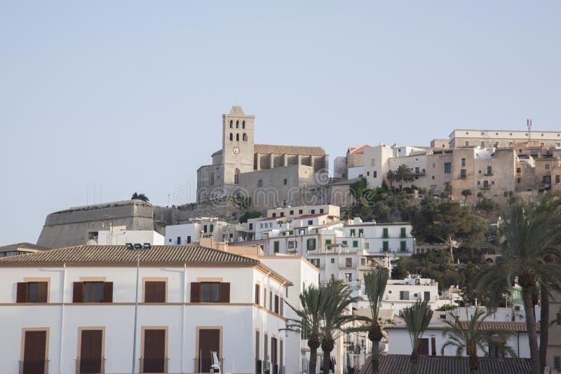 Ibiza domkyrka och stad royaltyfria foton